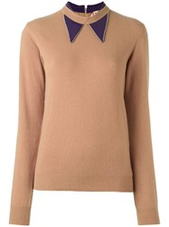 N 21 No21 Embroidered Collar Jumper Brown