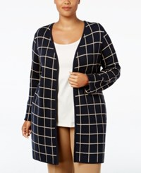 Charter Club Plus Size Milano Windowpane Duster Cardigan Only At Macy's Deepest Navy Combo