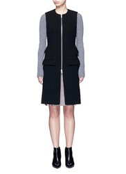 Alexander Wang Peplum Back Zip Front Long Vest Black