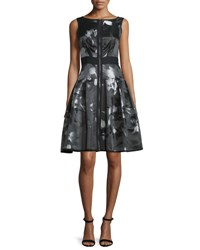 Carmen Marc Valvo Sleeveless Floral Zip Front Fit And Flare Dress Multicolor