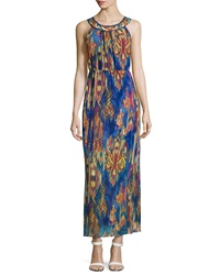 Neiman Marcus Ikat Sleeveless Halter Maxi Dress Multi