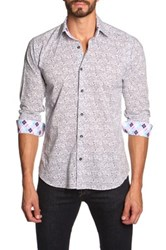 Jared Lang Long Sleeve Paisley Contrast Trim Semi Fitted Shirt Multi