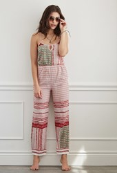 Forever 21 Tribal Print Jumpsuit Cover Up Pink Red