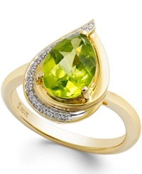 Macy's Peridot 9 10 Ct. T.W. And Diamond Accents Pear Shape Ring In 14K Gold Green