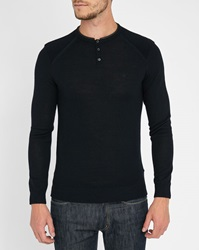 Ikks Navy Grandad Collar Sweater With Leather Detail And Padded Shoulders