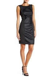 Blanc Noir Perforated Faux Leather Sheath Dress Black