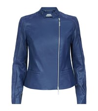 Escada Sport Lajean Suede And Leather Biker Jacket Female Blue