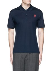 Alexander Mcqueen Skull Embroidery Polo Shirt Blue