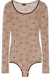 Cosabella Printed Tulle Bodysuit Neutral