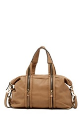 Urban Expressions Peoria Zip Vegan Leather Satchel Beige