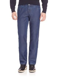 Brioni Cotton And Silk Straight Leg Jeans Midnight