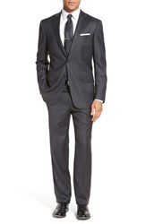 Hart Schaffner Marx Men's Big And Tall Classic Fit Stripe Wool Suit Med Grey