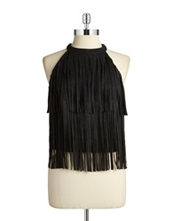 Design Lab Lord And Taylor Open Back Fringe Halter Top Black