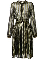 Dodo Bar Or Mosaic Belted Shirt Dress Metallic