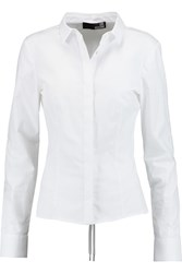Love Moschino Lace Up Cotton Blend Shirt White
