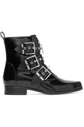 Alexander Mcqueen Studded Glossed Leather Ankle Boots Black