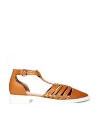 Faith Tan Strap Gladiator Flat Shoes
