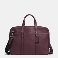 Coach Metropolitan Soft Brief In Refined Pebble Leather Black Antique Nickel Oxblood