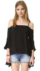 Re Named Cascade Sleeve Cold Shoulder Top Black