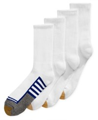 Gold Toe Men's Socks Athletic Cushion Crew 4 Pack White