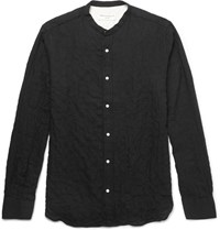 Officine Generale Grandad Collar Textured Herringbone Cotton Blend Shirt Black