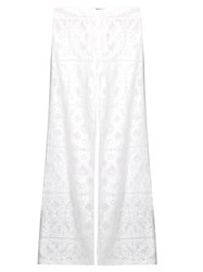 Serena Bute Straight Leg Mid Rise Lace Trousers White