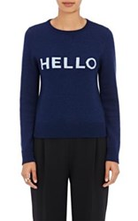 Lisa Perry Women's Hello Goodbye Wool Cashmere Sweater Navy