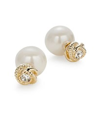 Kate Spade Infinity And Beyond White Faux Pearl Reversible Studs Silver