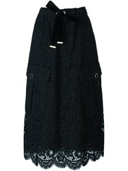 Twin Set Lace Midi Skirt Black