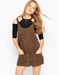 Influence Ditsy Print Playsuit With Buckle Detail Brown