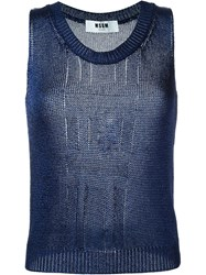 Msgm Knitted Tank Top Blue