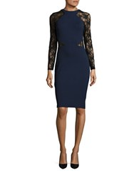French Connection Long Sleeve Sheath Dress Nocturnal