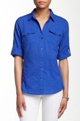 Sandra Ingrish Knit Side Roll Sleeve Button Down Shirt Blue