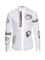 Mcq By Alexander Mcqueen Swallow And Stripe Print Cotton Shirt White Multi