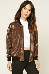 Forever 21 Contemporary Metallic Bomber Bronze