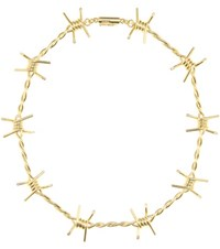 Natasha Zinko Barbed Wire 18Kt Silver Necklace With Diamonds Gold