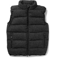 Aspesi Down Filled Quilted Wool Gilet Gray