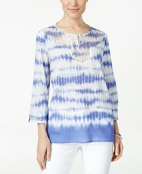 Alfred Dunner Petite Tie Dyed Lace Trim Tunic Iris