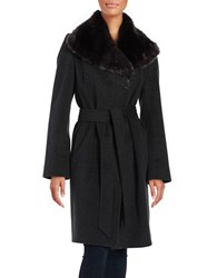 Jones New York Oversized Faux Fur Coat Charcoal
