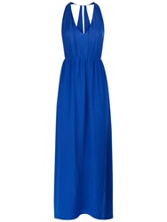 Jaeger Chiffon Halter Neck Silk Dress Blue