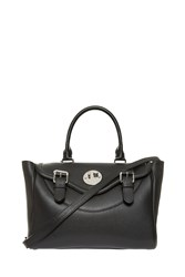 Hill And Friends Happy Leather Satchel Black