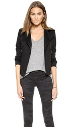 James Jeans Ponte Combo Motorcycle Jacket Black Ponte