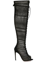 Giambattista Valli Open Toe Lace Up Boots Black