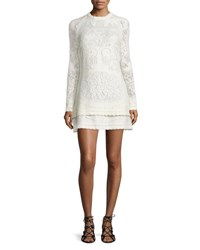 See By Chloe Long Sleeve Tiered Pointelle Mini Dress Off White