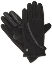 Isotoner Signature St Sport Knit Glove With Overlock Stitch Black