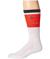 Lacoste Sport Compression Crew Sock White Corrida White Navy Blue Men's Crew Cut Socks Shoes