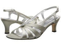 David Tate Rosette Silver Satin Women's 1 2 Inch Heel Shoes