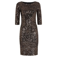 Hotsquash Long Sleeved Dress With Sequin Trim Gold