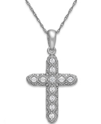 Macy's Diamond Cross Pendant Necklace In 14K White Gold 1 7 Ct. T.W.