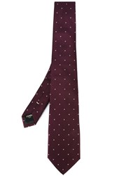 Fendi Logo Embroidered Tie Pink And Purple